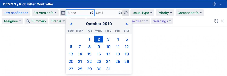 screenshot of date filter