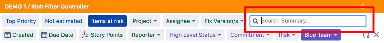 screenshot of summary filter